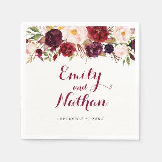 Serviettes En Papier Serviette florale rouge de mariage de automne de