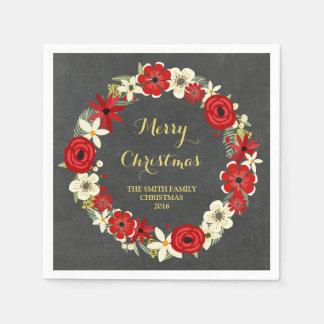 Serviettes En Papier Serviette florale rouge de Noël de guirlande de