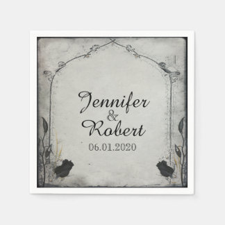 Serviettes En Papier Serviette gothique de mariage de treillis de rose