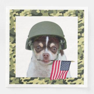 Serviettes En Papier Serviettes de dîner militaires de chien de chiwawa