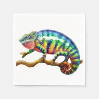 Serviettes En Papier Serviettes de papier de caméléon coloré de