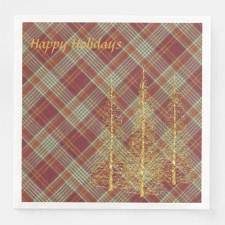 Serviettes En Papier Serviettes de papier de Noël rouge de plaid de