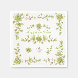 Serviettes En Papier Serviettes de papier d'impression florale