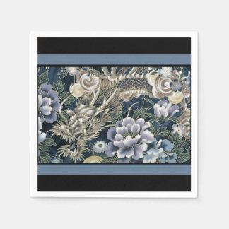 Serviettes En Papier Serviettes florales de motif de dragon asiatique
