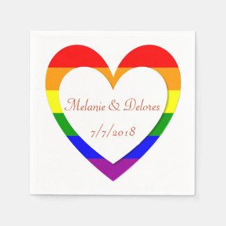 Serviettes En Papier Serviettes lesbiennes gaies de mariage de coeur