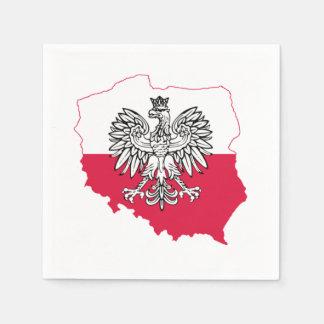 Serviettes En Papier Serviettes polonaises de barre de drapeau de carte