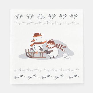 Serviettes En Papier Snowbirds sur le traîneau, serviettes