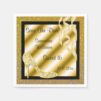 Serviettes En Papier Stylet d'or et bonbon fascinants 16 à flammes