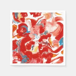 Serviettes En Papier Traçages rouges - art moderne peint à la main