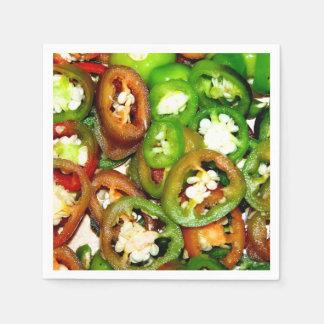 Serviettes En Papier Tranches colorées de poivre de Jalapeno