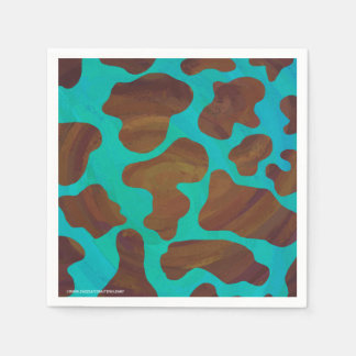 Serviettes En Papier Vache Brown et copie turquoise