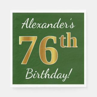Serviettes En Papier Vert, anniversaire d'or de Faux soixante-seizième