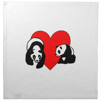 Serviettes En Tissus Amour d'ours panda
