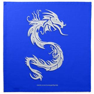 Serviettes En Tissus Argent l'année bleue du dragon dinant des