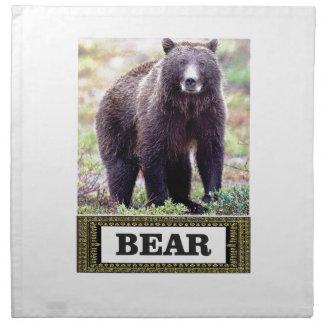 Serviettes En Tissus art d'étiquette d'ours noir