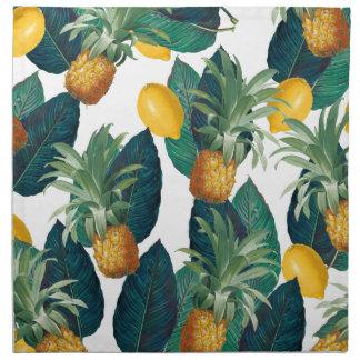 Serviettes En Tissus blanc d'ananas et de citron
