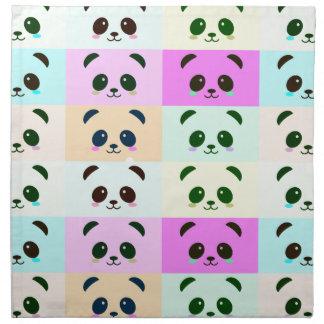 Serviettes En Tissus Bleu de rose de jaune d'art de bruit d'ours panda