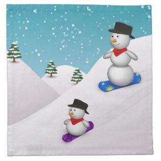 Serviettes En Tissus Bonhommes de neige mignons de snowboarding -