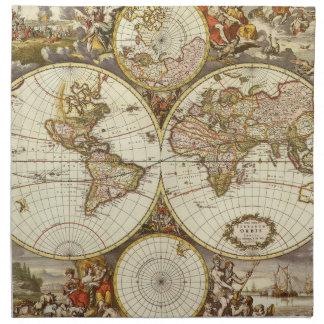 Serviettes En Tissus Carte antique du monde, C. 1680. Par Frederick de