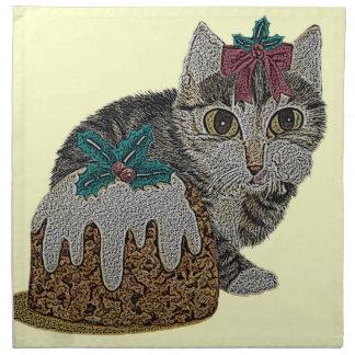 Serviettes En Tissus chat tigré gris de chaton mignon léchant Noël de
