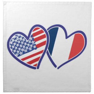 Serviettes En Tissus Coeurs d'amour des Etats-Unis France