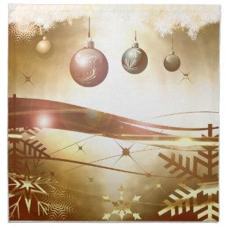 Serviettes En Tissus Décor d'or de vacances de Noël