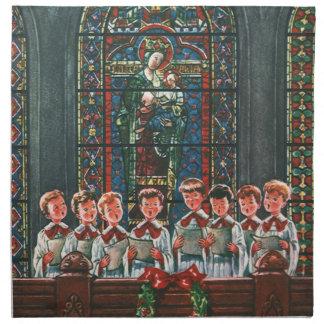 Serviettes En Tissus Enfants vintages de Noël chantant le choeur dans