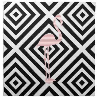 Serviettes En Tissus Flamant - motif géométrique abstrait - rose