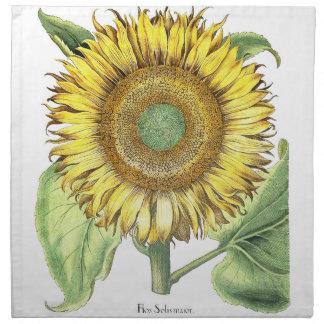 Serviettes En Tissus Fleur botanique vintage de tournesol florale