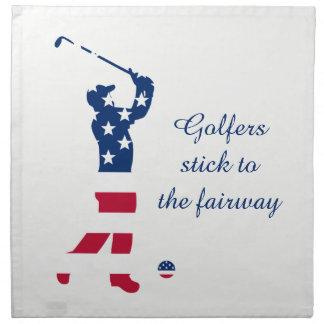 Serviettes En Tissus Golfeur de drapeau américain de golf des