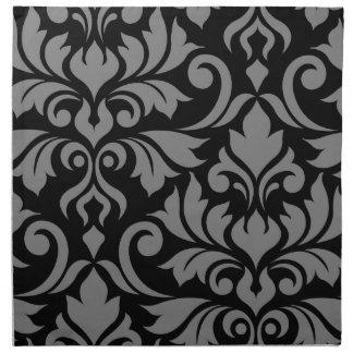 Serviettes En Tissus Gris de l'art I de damassé de Flourish sur le noir
