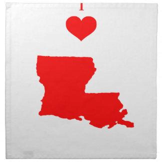 Serviettes En Tissus J'aime (coeur) la Louisiane