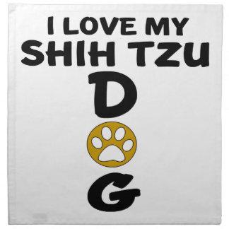 Serviettes En Tissus J'aime mes conceptions de chien de Shih Tzu