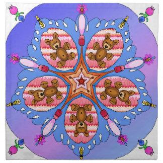 Serviettes En Tissus Kaléidoscope des ours et des abeilles