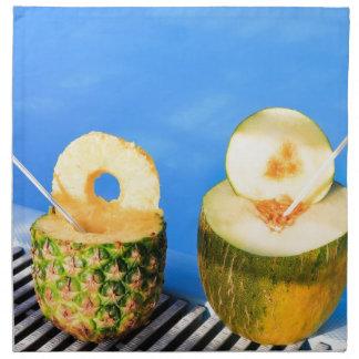 Serviettes En Tissus L'ananas et le melon portent des fruits avec des