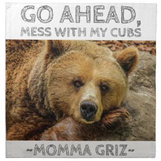 Serviettes En Tissus Les mamans Griz d'ours de mamans vont en avant