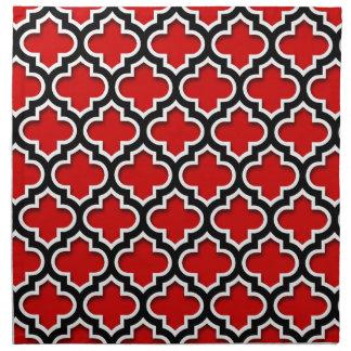 Serviettes En Tissus Motif blanc noir rouge #5DS de Quatrefoil de