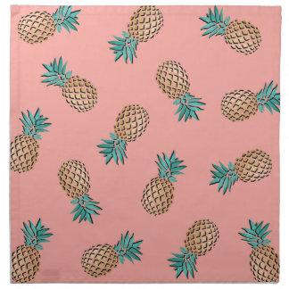 Serviettes En Tissus motif tropical d'ananas de feuille d'or d'été