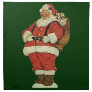 Serviettes En Tissus Noël vintage, le père noël victorien avec des