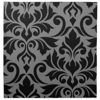 Serviettes En Tissus Noir de l'art I de damassé de Flourish sur le gris