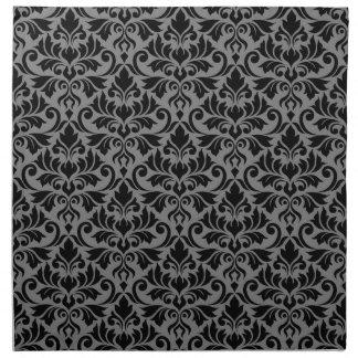 Serviettes En Tissus Noir de motif de damassé de Flourish sur le gris