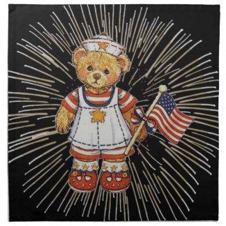Serviettes En Tissus Ours vintage d'infirmière avec les feux d'artifice