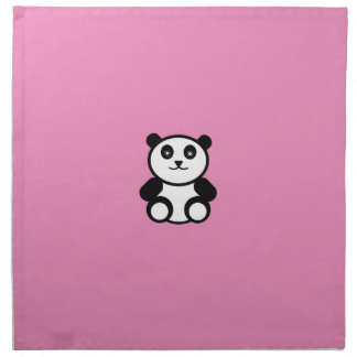 Serviettes En Tissus Panda mignon sur le rose en pastel