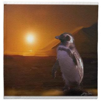 Serviettes En Tissus Pingouin d'Adelie et conception antarctique d'art