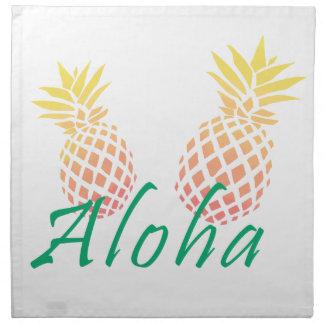 """Serviettes En Tissus texte tropical d'été """"aloha"""", ananas coloré"""