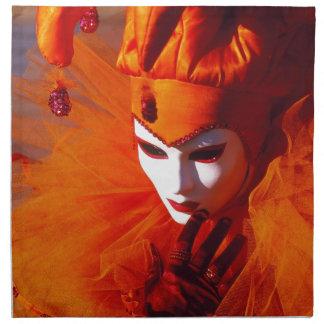 Serviettes En Tissus Venise, Italie (IT) - costume orange de carnaval