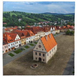 Serviettes En Tissus Vieille place dans Bardejov par jour, Slovaquie