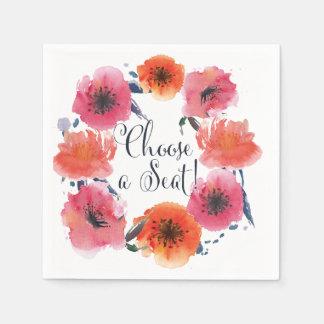 Serviettes florales de suite de mariage serviette en papier