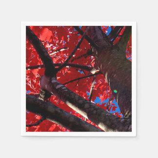 Serviettes Jetables Arbre rouge en automne