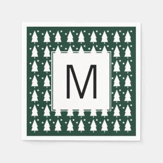 Serviettes Jetables Arbres de Noël de monogramme et serviette de